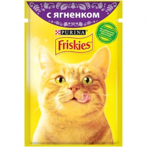 Влажный корм для кошек Purina Friskies с ягненком в подливе, пауч, 85 г