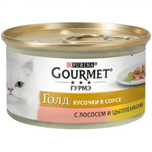 Консервы для кошек Purina Gourmet Gold, лосось и цыплёнок, банка, 85 г