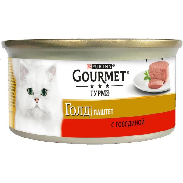 Консервы для кошек Purina Gourmet Gold, говядина, банка, 85 г