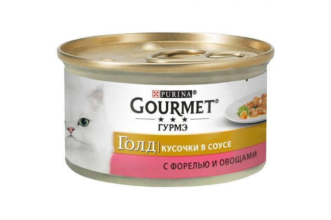 Консервы для кошек Purina Gourmet Gold, форель и овощи, банка, 85 г