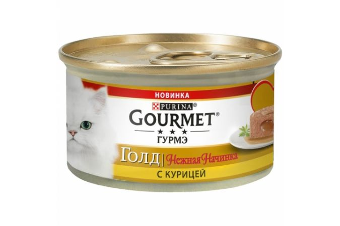 Консервы для кошек Purina Gourmet Gold Нежная начинка, курица, банка, 85 г
